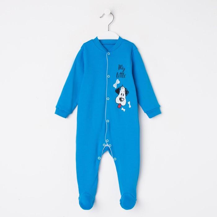 Комбинезон для мальчика, цвет синий/собачка, рост 68 см - фото 105473963