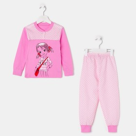 Пижама для девочки, цвет розовый, рост 86-92 см (52)