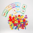 Деревянная игрушка «Развивающий геометрический пазл» 24,5×21,3×4 см, 24 карточки, 155 деталей
