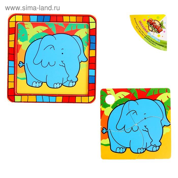 """Пазл квадратный в цветной рамке """"Слон в джунглях"""", 4 элемента"""