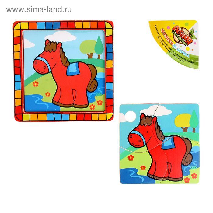 """Пазл квадратный в цветной рамке """"Лошадка на лугу"""", 4 элемента"""