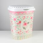 Корзина для белья с декором «Чайная роза», 55 л, 42×33×53 см