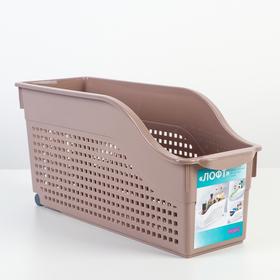 Контейнер для хранения хозяйственный «Лофт», 3 л, 35,5×13×17 см, на колёсах, цвет мокка