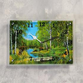 """Часы настенные прямоугольные """"Лес и река"""", 25х35 см"""