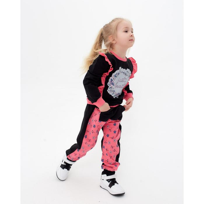 Комплект для девочки (джемпер, брюки), цвет коралл, рост 116 см - фото 76126984