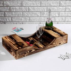 Поднос для вина под две бутылки, ручки-вырезы боковые, обожжённый, МАССИВ, 30×60 см