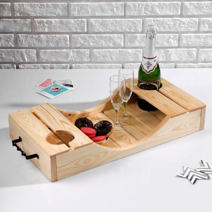 Поднос для вина под две бутылки, ручки металлические, обработанно маслом, МАССИВ, 30×60 см