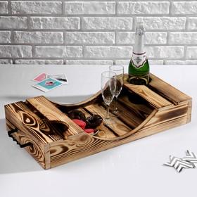 Поднос для вина под две бутылки, ручки металлические, обожжённый, МАССИВ, 30×60 см