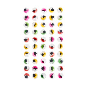 Eyes with eyelashes, adhesive, set of 50 PCs, size 1 PCs 1.2 cm , MIX colors