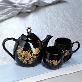 """Чайный сервиз """"Петелька"""" чёрный, золотая ветка, чайник 0,8 л, чашка 0,22 л"""