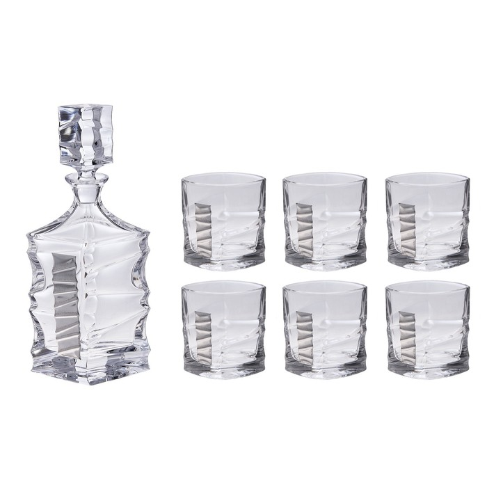"УЦЕНКА Набор для виски ""Джим Спот""(графин, 6 бокалов 250 мл.), 35 × 39 × 16 см"