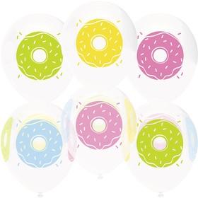 """Шар латексный 12"""" «Пончики», пастель, кристалл, 4-сторонний, набор 50 шт."""