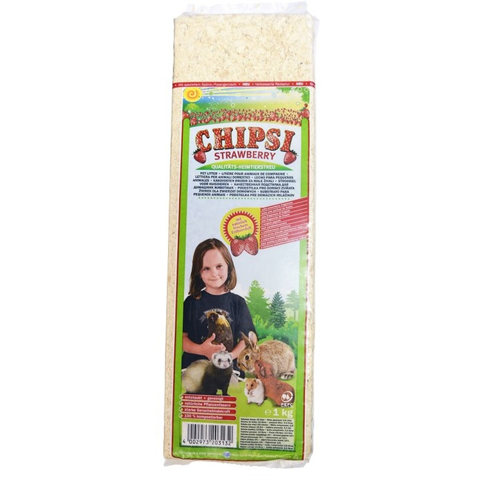 """Наполнитель Chipsi Strawberry """"Клубника"""" для грызунов, древесный, ароматный, 1 кг"""