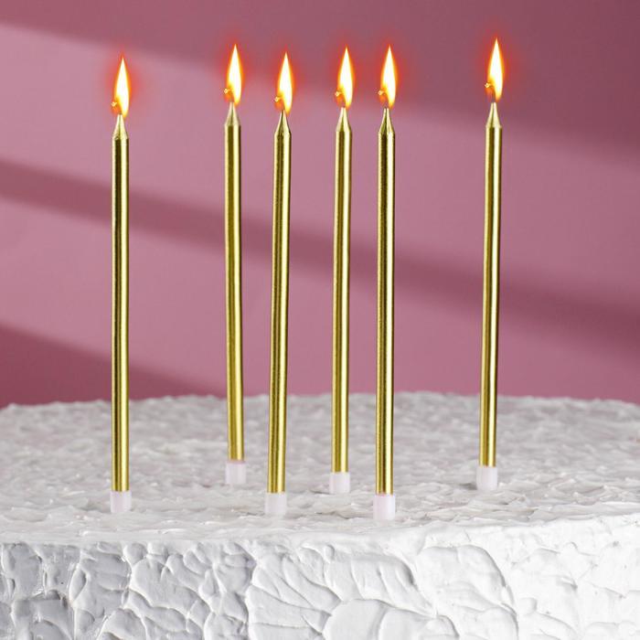 """Свечи в торт """"С днём рождения"""" 6 шт, высокие, Золотой металлик - фото 290939471"""
