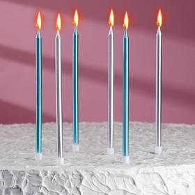 """Свечи в торт """"С днём рождения"""" 6 шт, высокие, Серебро+голубые"""