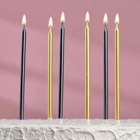 """Свечи в торт """"С днём рождения"""" 6 шт, высокие, Чёрный+золотые"""