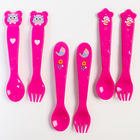 Набор для кормления: ложка и вилка «Для Малышки», от 5 мес., фуксия МИКС - фото 489641