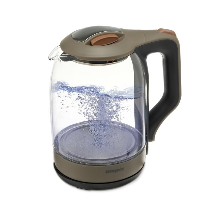 Чайник электрический, Ampix AMP-1905, 1500 Вт, 1.8 л, подсветка, стекло