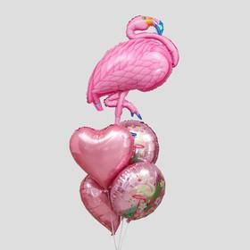 """Букет из шаров """"Фламинго"""", фольга,  набор из 5 шт. (М)"""