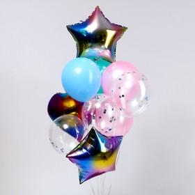 Букет из шаров «Разноцветный», сердце, звезда, фольга, латекс набор 10 шт.
