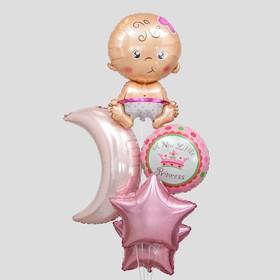 Букет из шаров «С рождением девочки», луна, звезда, младенец, фольга, набор 5 шт.