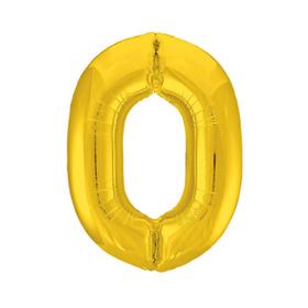 """Шар фольгированный 36"""" «Цифра 0», цвет золотой"""