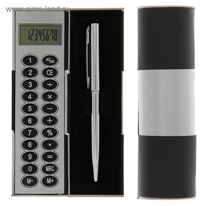 Калькулятор-футляр с ручкой 8-разрядный корпус черный-серый, УЦЕНКА