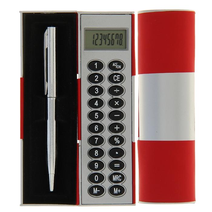 Калькулятор-футляр с ручкой 8-разрядный корпус красный-серый, УЦЕНКА