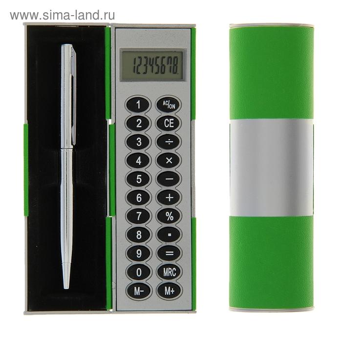 Калькулятор-футляр с ручкой 8-разрядный корпус зеленый-серый, УЦЕНКА