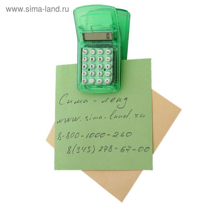 Калькулятор-зажим 8-разрядный на магните корпус зеленый