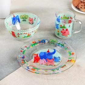 Набор посуды детский «Деревяшки», 3 предмета
