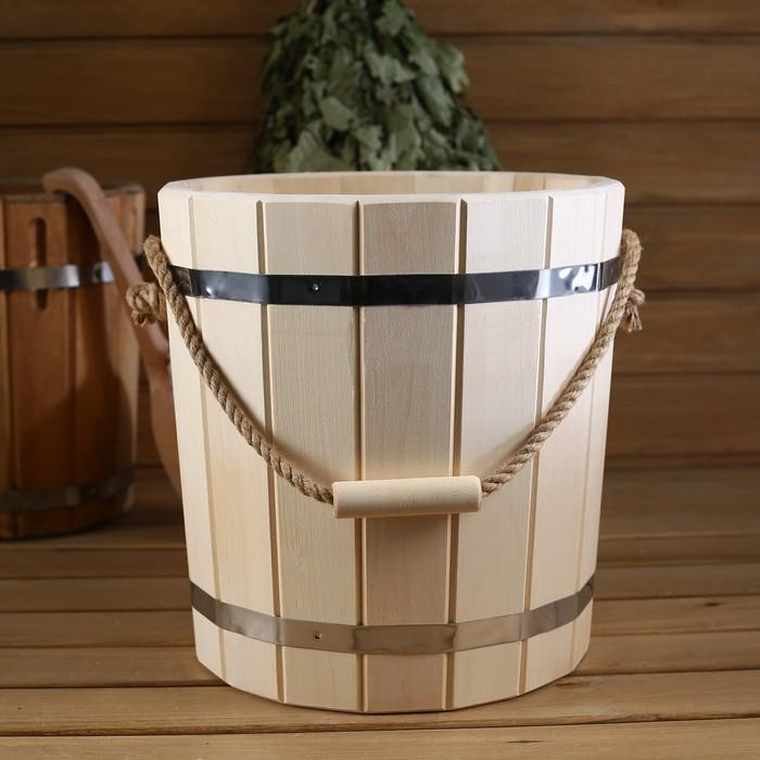Ведро деревянное, с пластиковой вставкой, 12 л