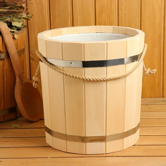 Ведро деревянное, с пластиковой вставкой, 15 л