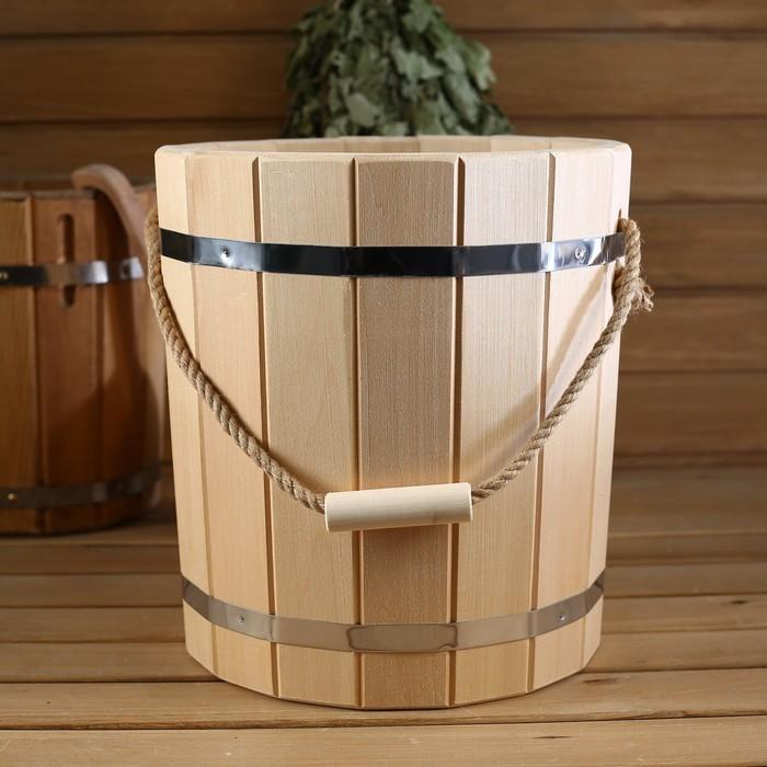 Ведро деревянное, с пластиковой вставкой, 20 л
