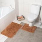 Набор ковриков для ванны и туалета, 2 шт: 40×50, 50×80 см, цвет коричневый