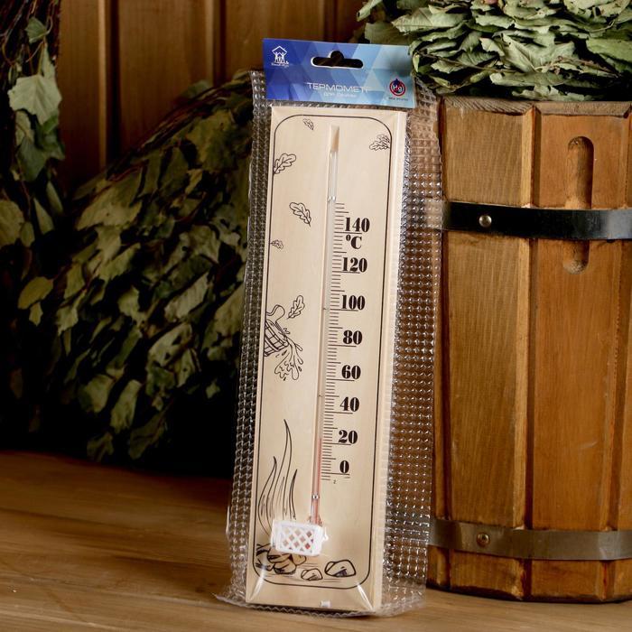 """Термометр для бани и сауны деревянный """"Шайка с веником"""", до 150°C, 30×8 см"""