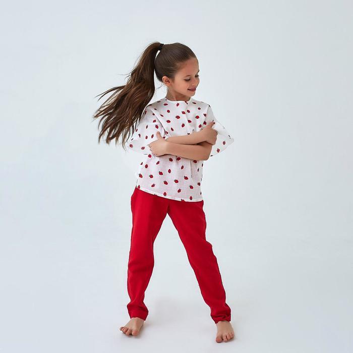 Брюки для девочки MINAKU: cotton collection romantic, цвет красный, рост 128 см - фото 105571749