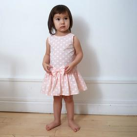 Платье-боди для девочки MINAKU: cotton collection цвет розовый/белый, рост 68