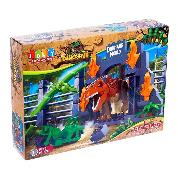 Конструктор блочный «Мир динозавров», 68 деталей