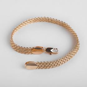 """Браслет металл """"Цепь"""" плетение черепашка, продолговатый карабин, цвет золото, ширина 7 мм, L=19 см"""