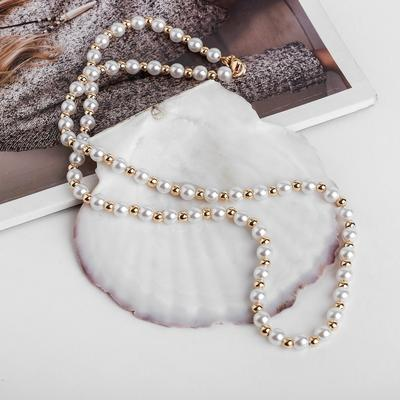 """Beads """"Pearl"""" on a chain, d=0,6, 53cm, color: white gold"""