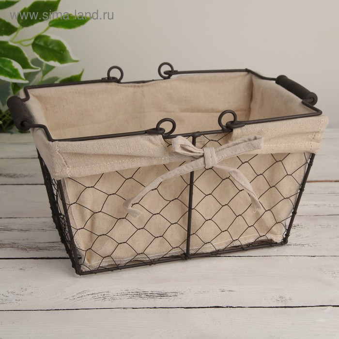 "The storage basket is made of metal 28х20х15 see ""Network"" with handles, brown"