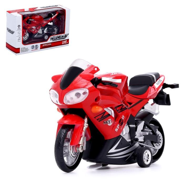 Мотоцикл металлический «Скорость», с элементами из пластика, инерционный, МИКС - фото 105653531