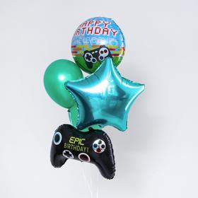 "A bouquet of balloons to the ""Fan of computer-games"", latex, foil, set of 5pcs."