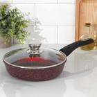Сковорода «Шоколад», 24×6,5 см, съёмная ручка, стеклянная крышка - фото 739924