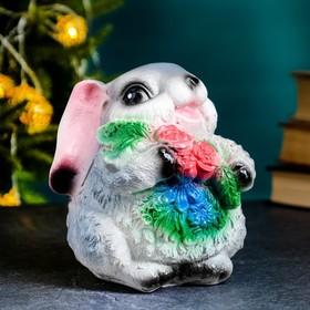 """Копилка """"Кролик серый с цветами"""" 14х12х15см"""