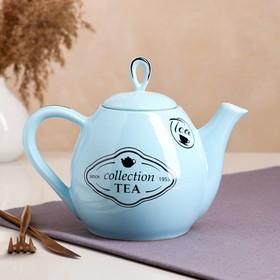 """Чайник """"Петелька"""" 1,1 л, голубой, с рисунком"""