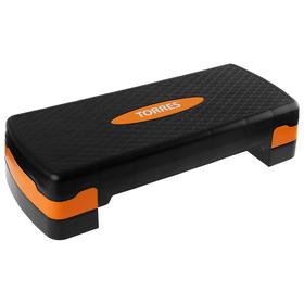 Степ-платформа TORRES, два уровня, 64 × 28 × 10/15 см, цвет чёрный/оранжевый