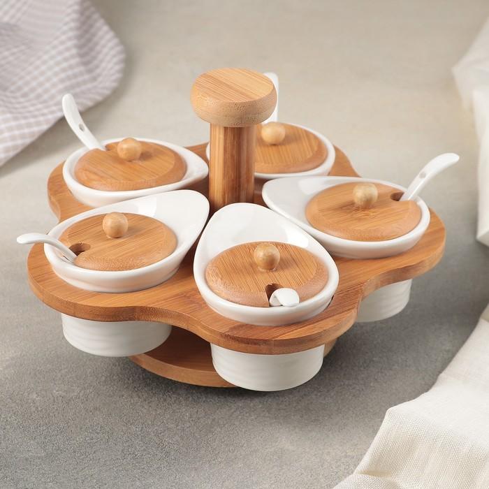 Набор банок для сыпучих продуктов «Эстет», 5 шт, 9,7×7,7×7 см, 5 ложек, на деревянной подставке - фото 489811
