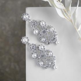 Earrings dangle with rhinestones Azhur beads pearls, white silver